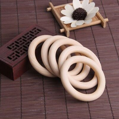 10 ABS / s Baby Natural Teething Rings Wooden Necklace Bracelet DIY Crafts AU