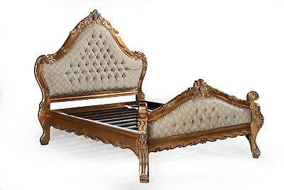 Carved Large Statement Old Gold Leaf Copper Gilt French Ornate Double Size Bed