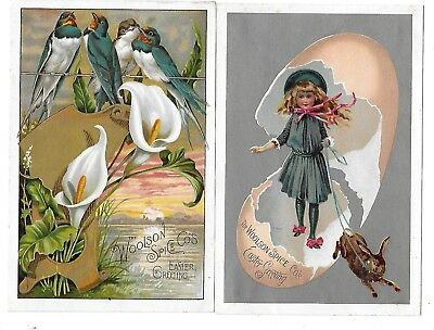 2Lion Coffee Easter Greetings Victorian Trade Cards Woolson Spice Toledo Ohio