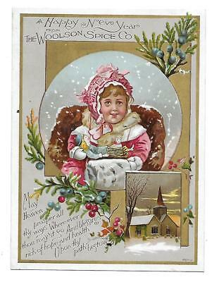 Happy New Year Victorian Trade Card Woolson Spice Company-Lion Coffee