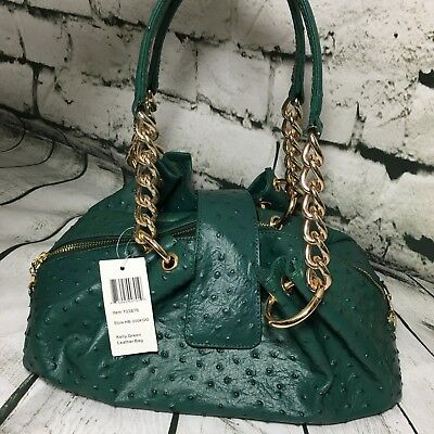 Isabella Adams 279 Green Gold Ostrich Embossed Cowhide Leather Handbag
