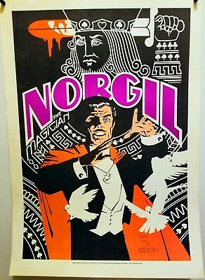 Rare Norgil The Magician  Poster Autographed By Walter Gibson 1977 The Shadow