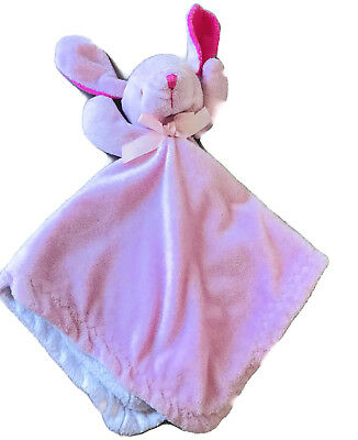 Blankets and Beyond Bunny Baby Security Blanket Pink White Baby Soft Lovey