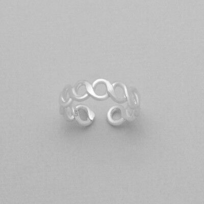 925 Sterling Silver Infinity Twist Toe Ring in Box