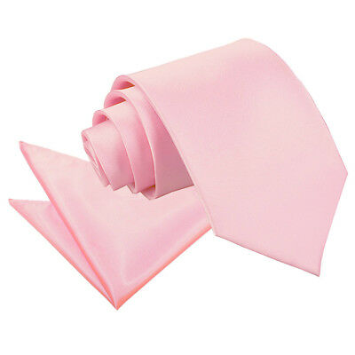 DQT Satin Plain Solid Baby Pink Mens Classic Tie & Hanky Wedding Set