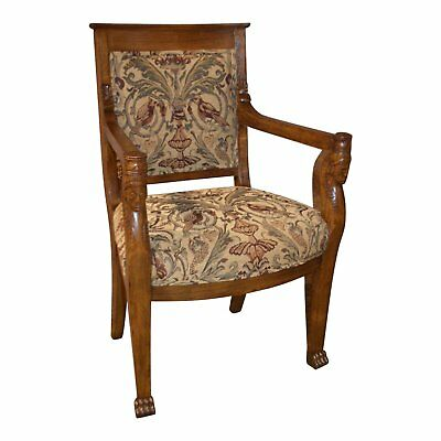 Vintage Solid Oak Egyptian Revival Chair w/Tapestry Seat