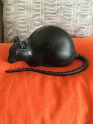 Fine Estate Japanese Solid bronze Mouse Animal statue rat figure Signed