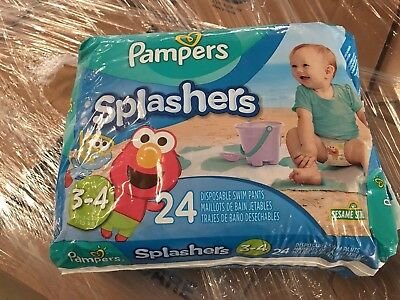 Pampers Splashers 3-4 16-34lbs   24 Disposable Swim Pants/ Diapers Sesame Street