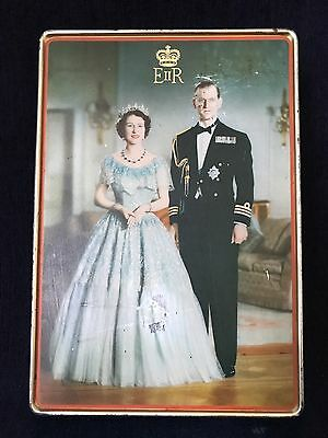 Vintage 1950's Queen Elizabeth & Duke Of Edinburg Biscuit Tin Sharp & Sons LTD