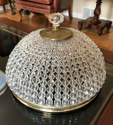 Antique French Crystal Beaded Flush Mount Chandelier Ceiling Fixture Shade Xl