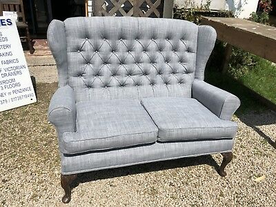 Parker Knoll Style Two Seater Sofa Settee Newly Upholstered In Grey