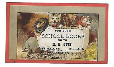 H. H. Otis Victorian Trade Card 288 Main St. Buffalo N. Y. School Books-Cats
