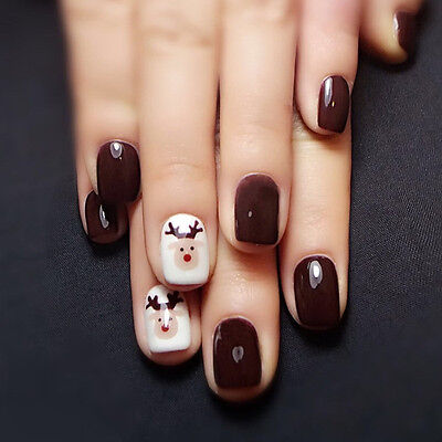 24 x Christmas elk Coffee Full Cover Short Pre-design Art False Fake Nails Glue