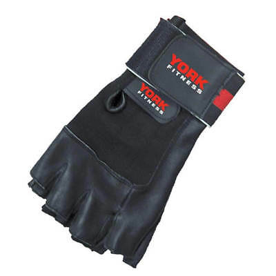 """York Fitness Leather Weight Lifting Gloves with 2"""" Power Wrist Wrap Gym Support"""