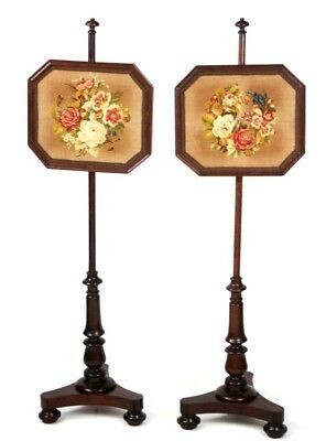 A Pair of Antique mahogany Needle Work Pole Screens - FREE Shipping [PL4456]