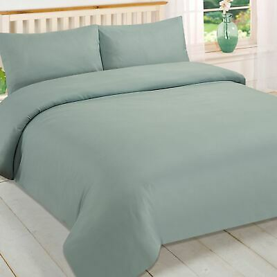 Brentfords Plain Duck Egg Blue Duvet Quilt Cover and Pillowcase Bedding Set