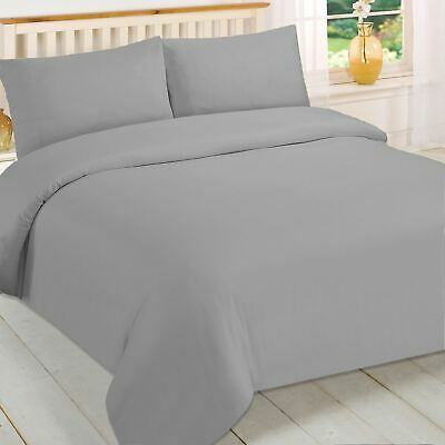 Brentfords Plain Grey Duvet Cover and Pillowcase Bedding Set Single Double King