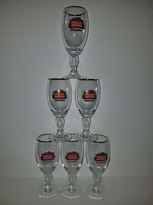 Set of (6) Stella Artois - 15CL  NEVER USED Gold Rimmed Glasses 600 years