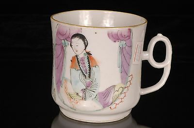 Antique Chinese Multicolored Hand Painted Porcelain Cup / Mug