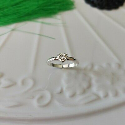 925 Sterling Silver Crystal Heart Toe Ring in Box