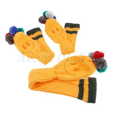 3Pcs/Kit Golf Club Headcovers Knitted Head Covers Protect Scratched Guard Sleeve