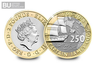 2018 Captian Cook £2 coin Brilliant Uncirculated two pound BU