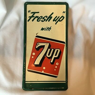 *NR* Vintage 1956 Stout Sign Co. Fresh Up with 7 Up Embossed Tin Advertising