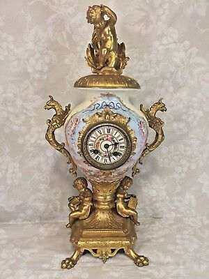 Ant Samuel Marti Urn Clock w/ Lions Feet and Dragons Porcelain Face Not Running