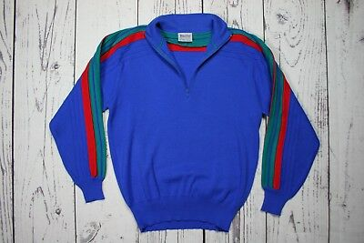 Vintage 70's MEISTER Blue Striped 1/3 Zip Collar Ski Sweater Men's Sz. L