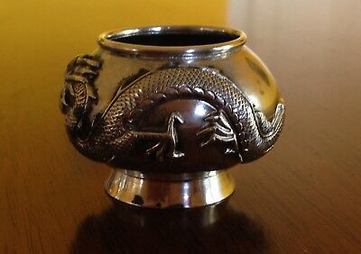 Sml Antique Chinese Solid Silver Incense Bowl Small Dragonl QING Period by T.L.