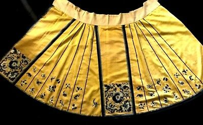 Antique Chinese Yellow Silk Satin Skirt Hand Embroidered Butterflies & Flowers