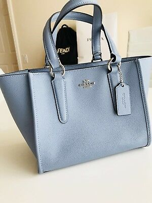 a3bf3afd26bd NWT Coach F11925 Crossbody Carryall 21 Handbag Crossgrain Leather Pool Blue   295