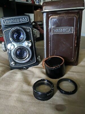 Yashica 635 TLR Medium Format Film Camera 120 with Leather Case, Filter, Strap