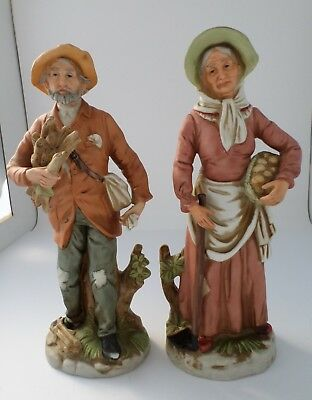 """Home Interior HOMCO Porcelain Farmer Figurines Old Man and Women #8884, 11"""" Tall"""