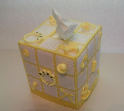 """Nursery Tissue Box Cover """"Handmade"""" with Party Favors, Baby Shower, Yellow"""