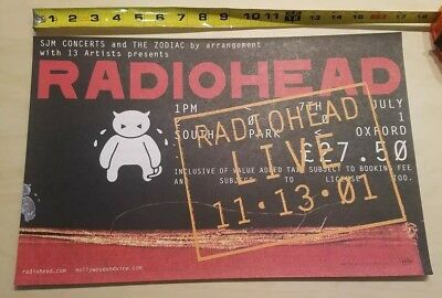 "Radiohead 2001 promo poster LIVE I Might Be Wrong 11/13/01 11"" by 17"""