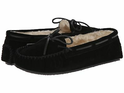Minnetonka Women's Cally Pile Lined Suede Mocassin Slippers Black