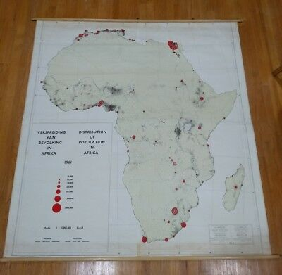 Vintage Africa population map Dutch hanging wall School chart 1961 mid century