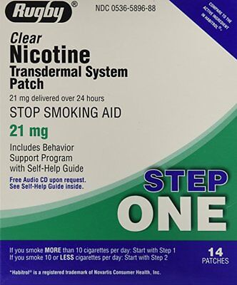 Rugby Nicotine Transdermal System Step One 21mg 14 Patches Each