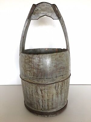 Antique Primitive Water Bucket Rice Gray Wood Collectible Vintage
