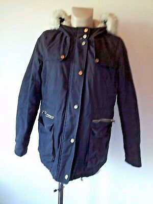 Topshop Maternity Navy Blue Quilted Cotton Parka Coat Jacket Size 12