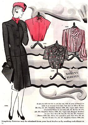 1945 Good Housekeeping Magazine Advertisement Simplicity Patterns 1 Page AD 289