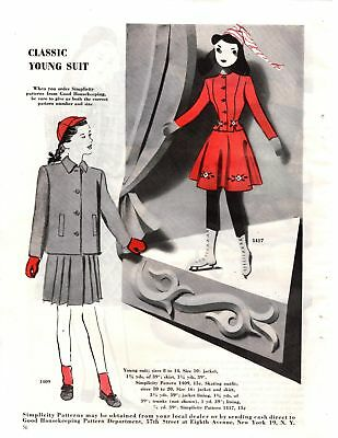 1945 Good Housekeeping Magazine Advertisement Simplicity Patterns 1 Page AD 290