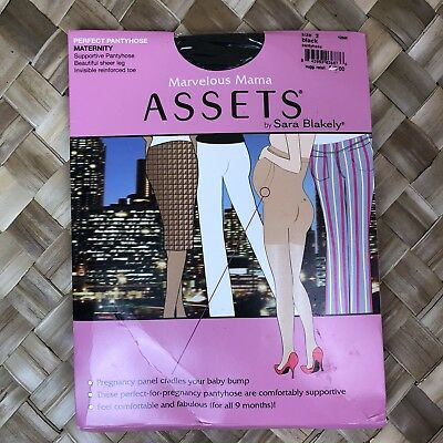 Marvelous Mama Assets Sara Blakely Sz 2 Black Perfect Maternity Pantyhose