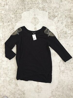 H&M Mama Maternity Black Embellished Sweater size L