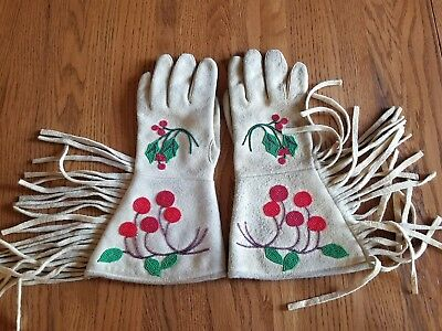 1930's Plateau Indian Beaded Gauntlet Gloves Elk hide