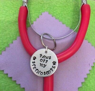 Personalised Hanging Stethoscope Charm, ID charm, tag, medic, doctor, nurse, vet