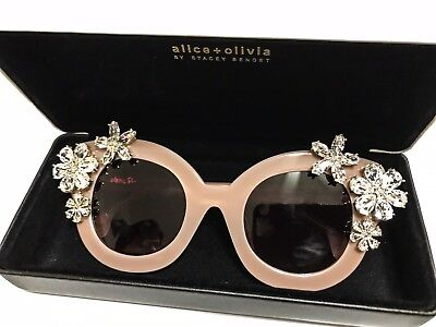 New Alice + Olivia Womens Madison Crystal Floral Blush Pink Sunglasses $525