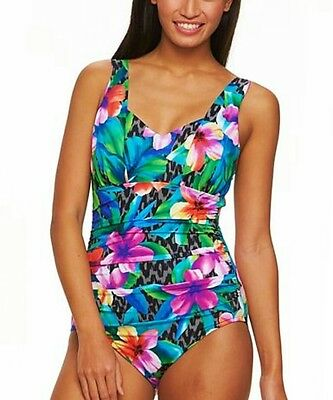67378455948 Trimshaper Floral Body Sculptor Control Ruched One-Piece Swimwear Women s  Size 8