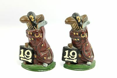 Vintage 19th Hole Golf Bag Cast Iron Bookends